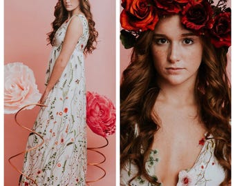 Wedding dress, bridesmaid dress, floral wedding dress, flower wedding dress, lace wedding dress, casual wedding dress, beach wedding dress