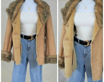 90's does 70s Faux Suede Faux Fur Coat | Almost Famous Penny Lane Jacket / Coat