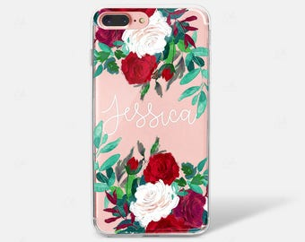 iPhone Case Personalised, Phone Case Rose Initials, Monogram, Custom iPhone Case, Handwritten Name, Floral, iPhone 6 7 8 X, Samsung Galaxy