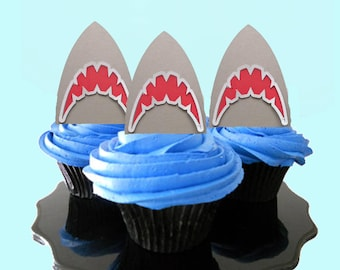 Shark Party Cupcake Toppers, shark party decorations, shark party decor, shark party, party decorations, food picks, jaws party