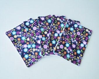 """Lot de 5 lingettes lavables """"fleurs violettes"""" en coton éponge de bambou écologique renouvelable zéro déchet toilette de bébé"""