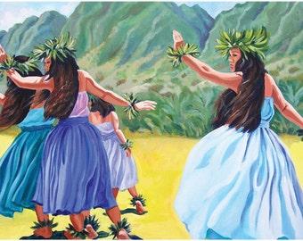 Hawaiian Hula Ho'i, Hawaiian Hula, Hula Dancers, island art
