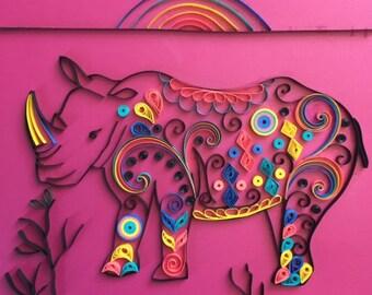 Handmade Quilled Paper Endangered Species Black Rhino Art 8x8