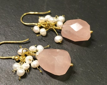 Bellini>>Rose Chalcedony Dangle Earrings, Freshwater pearl cluster, Gold Plated Sterling Silver Earrings, Handmade