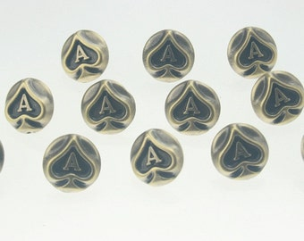 30 pcs. Vintage Antique Brass Ace Rivets Studs Buttons Decorations Findings 14 mm. Ace BR14 3 RV RC