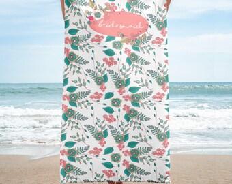 Bridesmaid Towel Wrap | Bridesmaid Beach Towel | Wedding Beach Towel | Wedding Party Beach Towel | Bridal Beach Towel