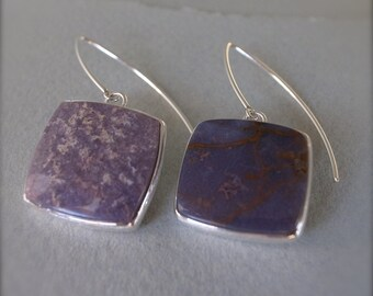 asymmetrical square earrings - burro creek agate