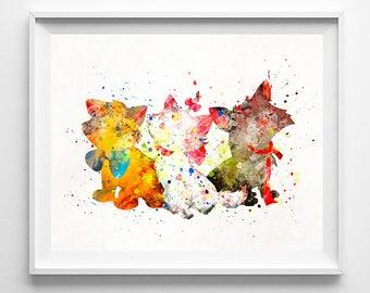 Aristocats Print, Disney Poster, Watercolor Art, Baby Room Art, Kids Art, Art Print, Decorations, Bedroom Wall Art, Fathers Day Gift