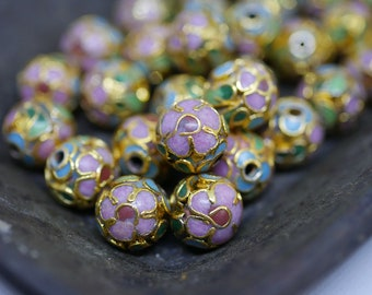 Chinese Cloisonne Beads 8mm Gold Pink Cloisonne Bead Enamel Beads Metal Beads (6 beads) CL18