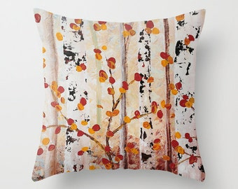 Birch Tree Pillow Cover, Decorative Pillows, Beige Brown Yellow Throw Pillow, Art Pillows, Cushions, Living Room Decor, Pillows for Couch