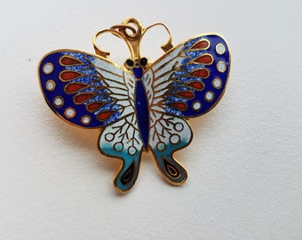 Colorful Cloisonne Butterfly Pin or Pendant