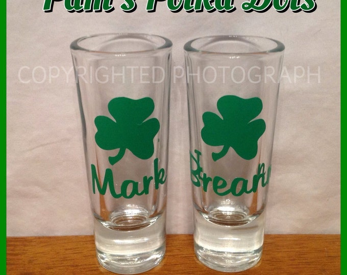Personalized SHAMROCK SHOT GLASS with Name, Initial, or Word Perfect for St. Patrick's Day lucky gift