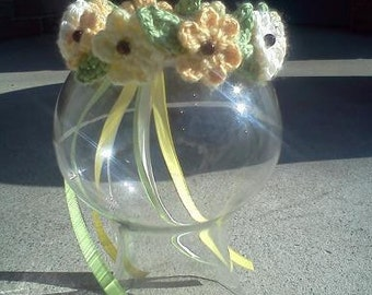 SALE!! Crown of Flowers- READY to SHIP- Photo prop newborn size, wedding, Christening, Fantasy