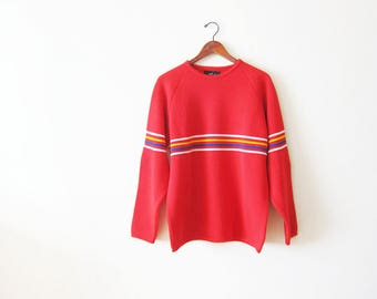 60s Sweater / Rainbow Sweater / Striped Sweater / Red Sweater / Pullover Sweater / Wool Sweater / Vintage Jumper / Mens Sweater