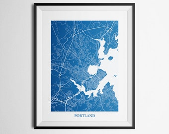 Portland, Maine Abstract Street Map Print
