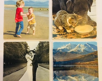 Your personalised photos on ceramic tiles. Set of 4.
