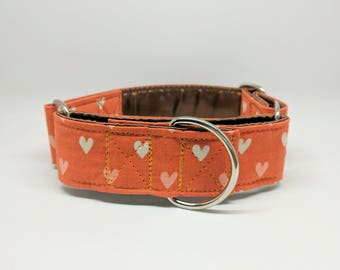 Valentines Martingale Dog Collar Tiny Hearts: Orange, Pink, White Pattern SILVER HARDWARE