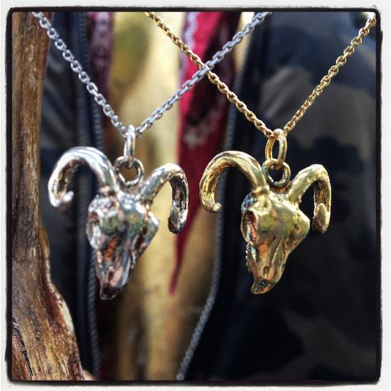 Etherial Jewelry Rock Chic Talisman Luxury Biker Custom Handmade Artisan Pure Sterling Silver .925 Designer Ram Skull & Antlers Pendant