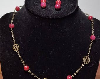 Pink Marbled Jewelry Set // Pink Necklace // Pink Bracelet // Pink Earrings