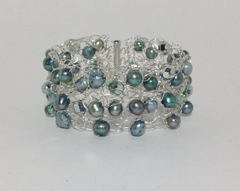 Bracelet Cuff, Teal Green and Soft Sage, Cultured Freshwater Pearl, Specialty Faceted Glass, Non-Tarnish Silver Plated Wire, Wire Crochet