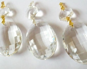 ONE Chandelier Crystals Clear Faceted Oval Crystal Prisms 50mm Egg Crystal Shabby Chic