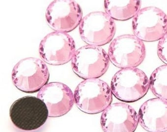 Rhinestone, fusible, rhinestones fusible pink 5mm - 10 rhinestone bag