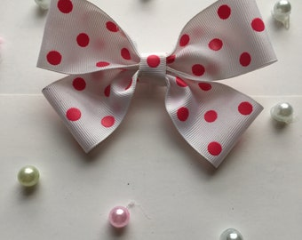 Pink and White Hair Bows