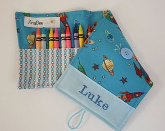 Personalized Crayon Roll - To the moon, crayons INCLUDED, Crayon roll-up, pencil case, 12+ crayons, stocking stuffer, gifts under 15 dollars