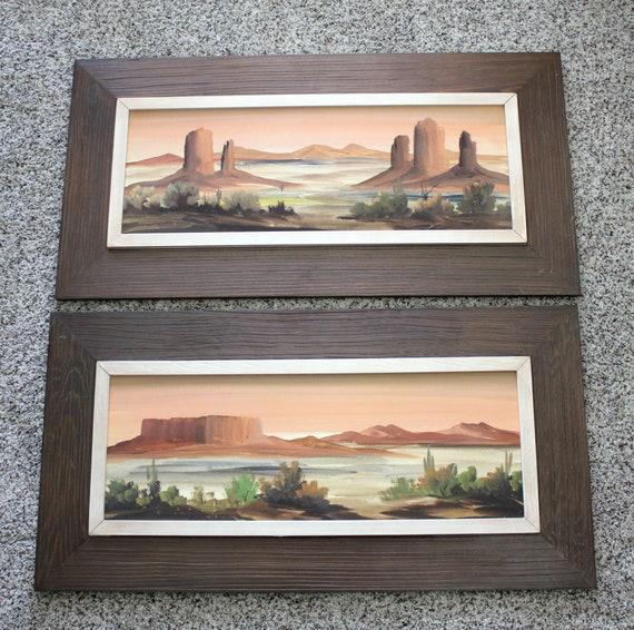 Vintage Southwest Desert Original Watercolor Paintings, Artist Signed, Rock Formationsrt