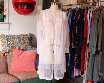 sheer pink peignoir robe . nylon chiffon robe with lace by Sears AS IS SALE