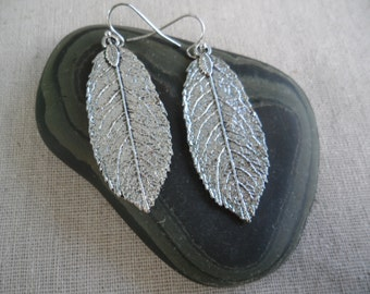 Silver Leaf Earrings - Boho Leaf Earrings - Silver Leaf Jewelry - Simple Everyday Silver Earrings