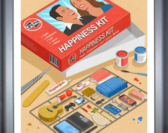 Happiness kit: signed limited edition, colouful, conceptual,  illustration print