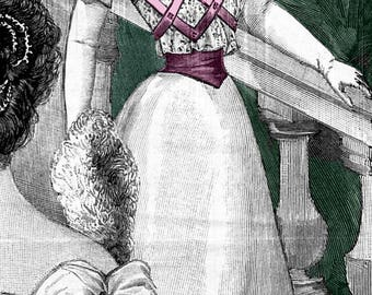 1896 Victorian Ballgown with Ribbon Trim pattern - sized for you from antique original - includes bonus pattern for lingerie.  #225