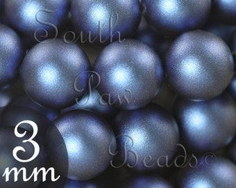 3mm Iridescent Dark Blue swarovski pearl beads by Swarovski Style 5810 (50)