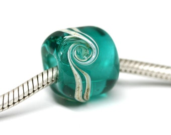 Teal Green European bracelet beads Large hole Ocean teal lampwork charm beads Murano glass Big hole beads by MayaHoney SRA
