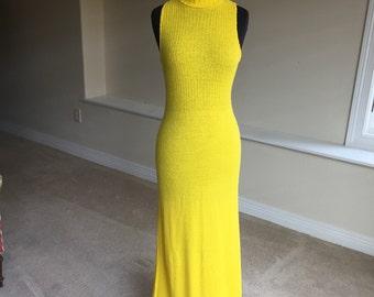 Long Yellow Knit Sleeveless Form Fitting Dress 1970