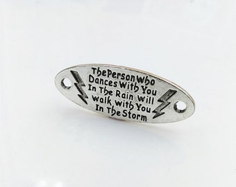 Quote Connector Word Connector Word Band Quote Pendant Word Pendant Word Charm Silver Word Charm DANCES in the RAIN Quote
