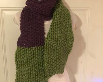 Handknitted uneven purple and green scarf