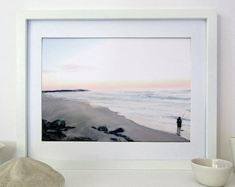 Fisherman on Beach, Downloadable Art, Printable Beach Art, Australia, Digital Seascape Painting, Minimalist Art, Horizontal A4, Gift for Men