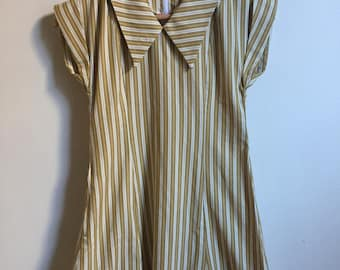 70s Vintage Striped School Girl Dress // Mustard & White Baby Doll with Collar // Small Minidress