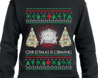 Christmas Is Coming Sweater Ugly Christmas Sweater Christmas Hoodie Game of Thrones Sweater Xmas Gift Xmas Sweatshirt Iron Throne TH367 DjfA6