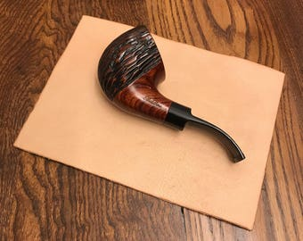 "Tobacco Mat No. 2 | Medium-Sized Natural Finish Leather Tobacco Mat, 5"" x 7"", Handmade Leather Tobacco Pipe Mat, Roll Your Own Mat"