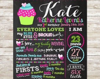Our Little Cupcake- Birthday Chalkboard Digital File Birthday Stats Photo Prop Personalized Poster Blue, Pink and Green