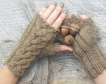 Outlander inspired Celtic Cable fingerless gloves Choose your color and pattern, made to order