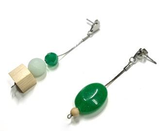 Unmatched architectural dangle and drop earrings / Green jade earrings / Amazonite earrings / Gemstone earrings / Wood earrings