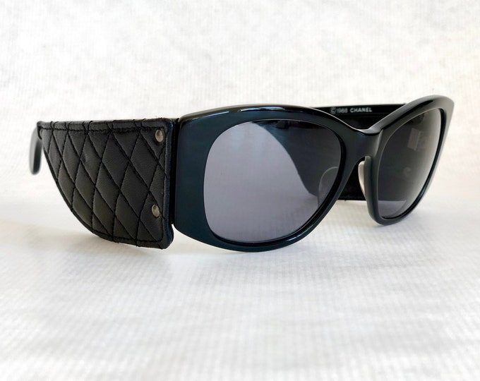 CHANEL Quilted Leather Vintage Sunglasses New Old Stock including Case
