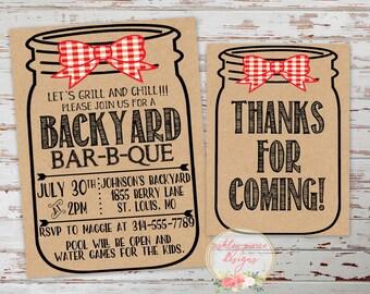 Backyard BBQ Invitation, Mason Jar Invitation, Invitation and Thank You Card, Birthday Invitation, Baby Shower Invitation, Wedding Shower