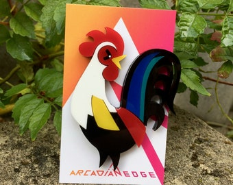 Rooster Laser cut acrylic brooch - plastic chicken pin