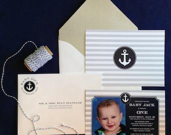 Nautical Birthday Invitation, Anchor Invitation, Navy Birthday Invitation, Nautical Invitation