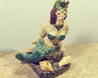 "7"" Hand Sculpted Clay Mermaid Sculpture Siren Sea Maiden Mythical Aquatic Figurine Mystical Decoration One of a Kind Oceanic Decor Curiosity"